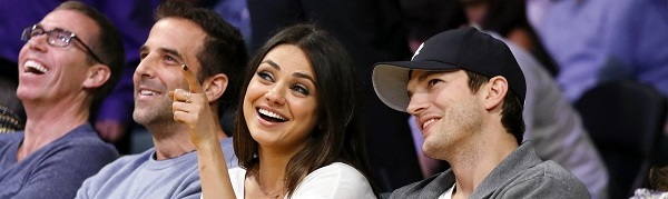 Actors Mila Kunis and Ashton Kutcher at the NBA game on Tuesday, February 12, 2013, in Los Angeles.