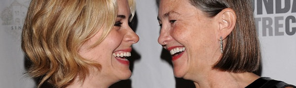 Actresses Sarah Paulson, left, and Cherry Jones attend the Roundabout Theatre Company's 2009 Spring gala at Roseland Ballroom, Monday, April 6, 2009 in New York. (AP Photo/Evan Agostini)