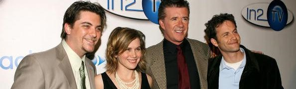 "LOS ANGELES, CA - MARCH 15: (L-R) The cast of ""Growing Pains, Jeremy Miller, Tracey Gold, Alan Thicke and Kirk Cameron arrives at the AOL and Warner Bros. Launch of In2TV at the Museum of TV & Radio on March 15, 2006 in Beverly Hills, California. (Photo by Michael Buckner/Getty Images)"